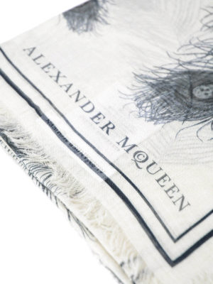 Alexander Mcqueen: Stoles & Shawls online - Feather and skull printed foulard
