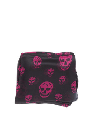 Alexander Mcqueen: Stoles & Shawls online - Fuchsia Skull chiffon silk shawl