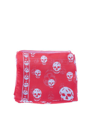 Alexander Mcqueen: Stoles & Shawls online - Red Skull chiffon silk shawl