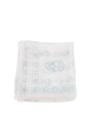 Alexander Mcqueen: Stoles & Shawls online - White Skull chiffon silk shawl