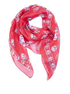 Alexander Mcqueen: Stoles & Shawls - Red Skull chiffon silk shawl