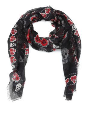 Alexander Mcqueen: Stoles & Shawls - Silk and modal poppy print shawl