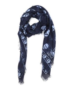Alexander Mcqueen: Stoles & Shawls - Skull print foulard
