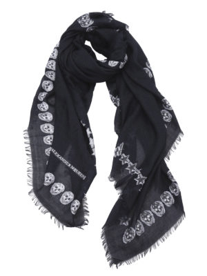 Alexander Mcqueen: Stoles & Shawls - Star and skull wool shawl
