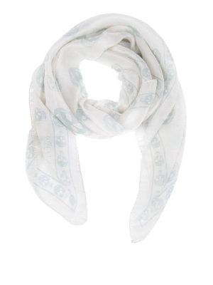 Alexander Mcqueen: Stoles & Shawls - White Skull chiffon silk shawl