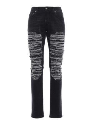Alexander Mcqueen: straight leg jeans - Contrasting scraping denim jeans
