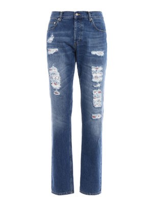 Alexander Mcqueen: straight leg jeans - Faded jeans with patterned patches