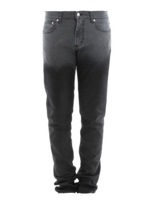 Alexander Mcqueen: straight leg jeans - Faded panel denim jeans
