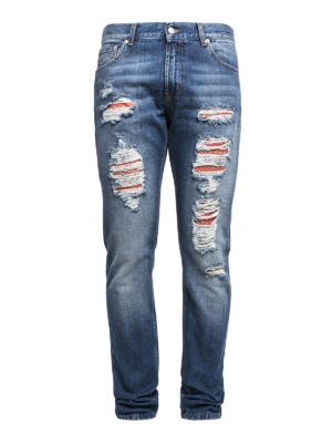 Alexander Mcqueen: straight leg jeans - Five pockets ripped jeans