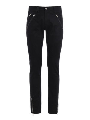 Alexander Mcqueen: straight leg jeans - Leather patch pockets denim jeans