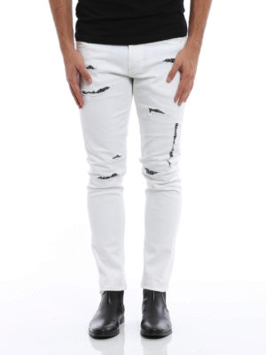Alexander Mcqueen: straight leg jeans online - Coloured ripped jeans