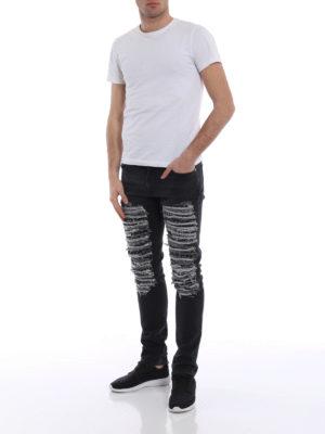 Alexander Mcqueen: straight leg jeans online - Contrasting scraping denim jeans