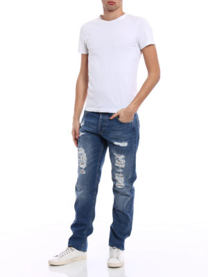 Alexander Mcqueen: straight leg jeans online - Faded jeans with patterned patches