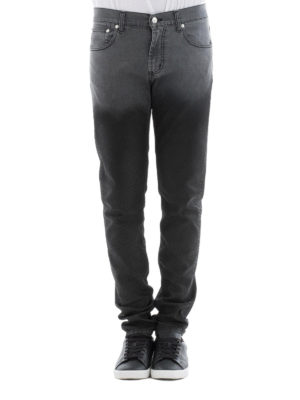 Alexander Mcqueen: straight leg jeans online - Faded panel denim jeans