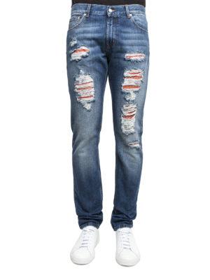 Alexander Mcqueen: straight leg jeans online - Five pockets ripped jeans