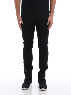 Alexander Mcqueen: straight leg jeans online - Leather patch pockets denim jeans