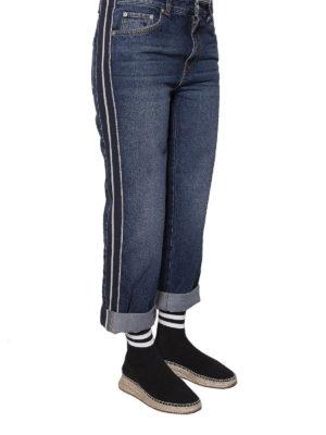Alexander Mcqueen: straight leg jeans online - Side bands detailed denim jeans