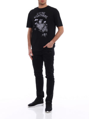 Alexander Mcqueen: straight leg jeans online - Skeleton jeans with patched rips