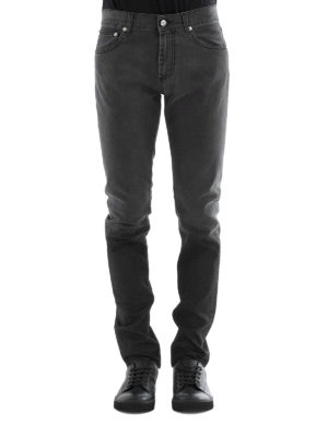 Alexander Mcqueen: straight leg jeans online - Skinny fit faded cotton jeans