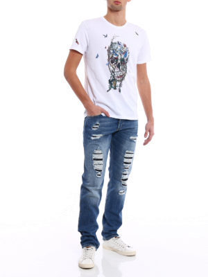 Alexander Mcqueen: straight leg jeans online - Slim fit jeans with patched rips