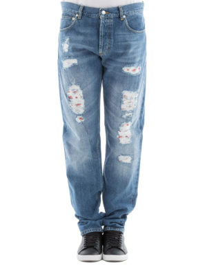 Alexander Mcqueen: straight leg jeans online - Worn out distressed cotton jeans