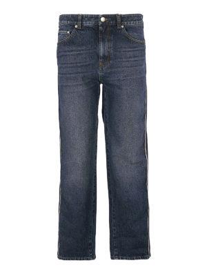 Alexander Mcqueen: straight leg jeans - Side bands detailed denim jeans