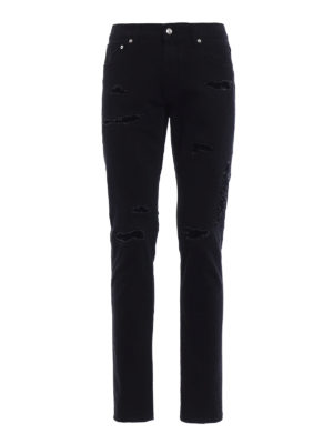 Alexander Mcqueen: straight leg jeans - Skeleton jeans with patched rips