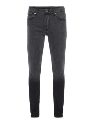 Alexander Mcqueen: straight leg jeans - Skinny fit faded cotton jeans