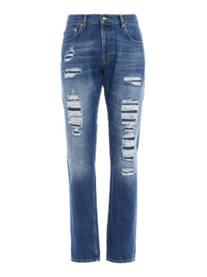 Alexander Mcqueen: straight leg jeans - Slim fit jeans with patched rips