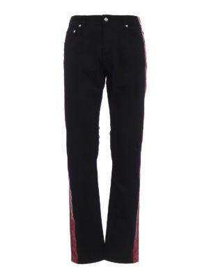 Alexander Mcqueen: straight leg jeans - Waxed burgundy bands jeans