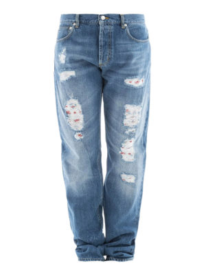 Alexander Mcqueen: straight leg jeans - Worn out distressed cotton jeans