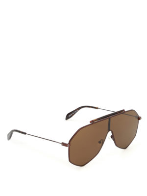 Alexander Mcqueen: sunglasses - Brown metal mask sunglasses