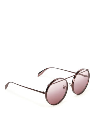 Alexander Mcqueen: sunglasses - Brown metal round sunglasses