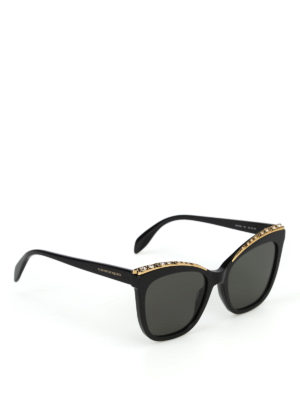 ALEXANDER MCQUEEN: occhiali da sole - Occhiali da sole a occhi di gatto con strass
