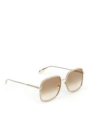ALEXANDER MCQUEEN: occhiali da sole - Occhiali da sole squadrati con strass