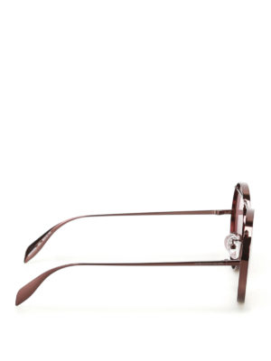 Alexander Mcqueen: sunglasses online - Brown metal round sunglasses