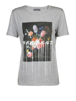 ALEXANDER MCQUEEN: t-shirt - T-shirt nera con fiori e gocce di vernice