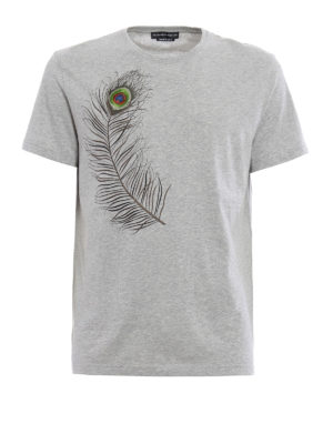 Alexander Mcqueen: t-shirts - Embroidered peacock feather T-shirt