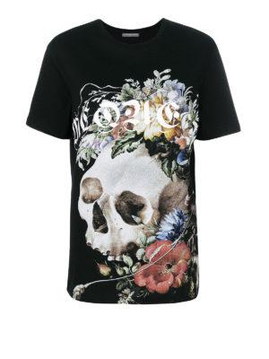 ALEXANDER MCQUEEN: t-shirt - T-shirt con stampa teschio e fiori