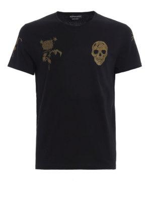 Alexander Mcqueen: t-shirts - Gold tone printed jersey T-shirt
