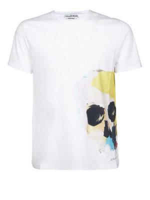 Alexander Mcqueen: t-shirts - Multicolour skull print cotton Tee