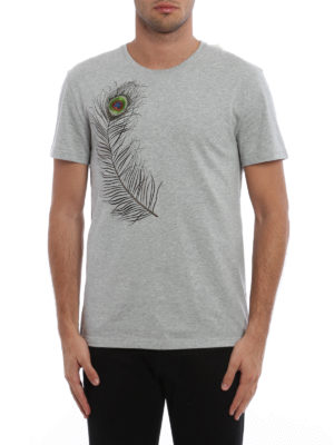 Alexander Mcqueen: t-shirts online - Embroidered peacock feather T-shirt