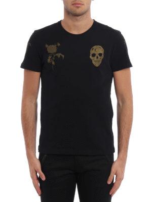 Alexander Mcqueen: t-shirts online - Gold tone printed jersey T-shirt