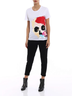 Alexander Mcqueen: t-shirts online - Painted Skull print white Tee