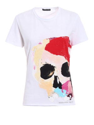 Alexander Mcqueen: t-shirts - Painted Skull print white Tee