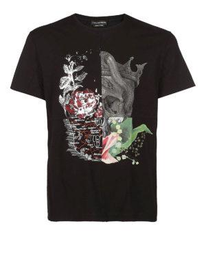 ALEXANDER MCQUEEN: t-shirt - T-shirt nera Skull Patchwork
