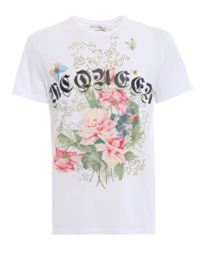 ALEXANDER MCQUEEN: t-shirt - T-shirt bianca in cotone con teschio e rose