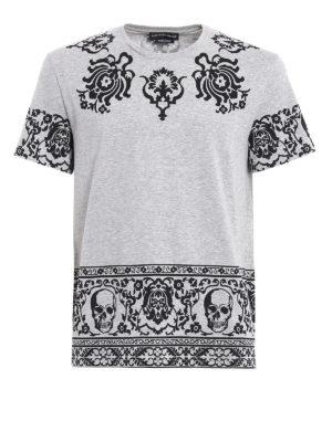 Alexander Mcqueen: t-shirts - Skull pattern cotton T-shirt