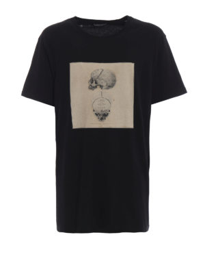ALEXANDER MCQUEEN: t-shirt - T-shirt nera con stampa Skull vintage