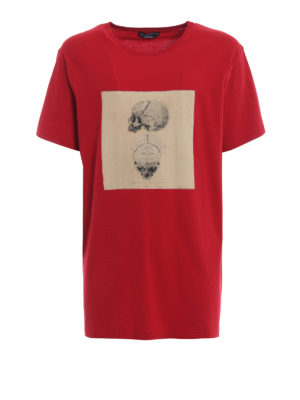 ALEXANDER MCQUEEN: t-shirt - T-shirt rossa con stampa Skull vintage
